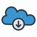 cloud, computing, data, download, multimedia, network, storage icon