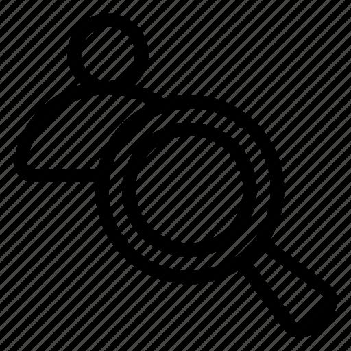 avatar, male, man, person, search, user, zoom icon
