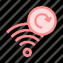 redo, refresh, reload, rss, wifi icon