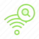 glass, magnifier, search, signal, wifi icon