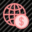 cash, dollar, globe, money, world icon