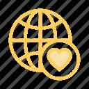 earth, favorite, global, globe, heart icon