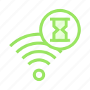 hourglass, rss, signal, timer, wifi