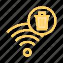 delete, rss, signal, trash, wifi