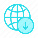 arrow, download, earth, global, world icon