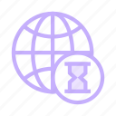 earth, global, hourglass, timer, world icon