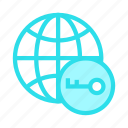 global, key, lock, secure, world icon
