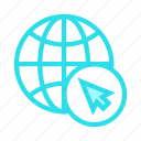 cursor, earth, global, pointer, world icon