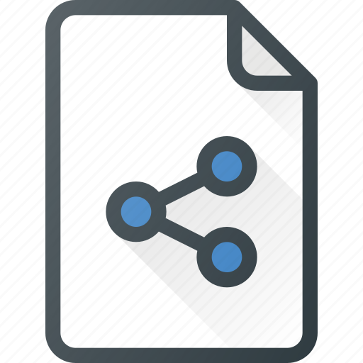 action, connection, document, file, network, share, sharing icon