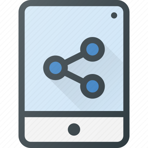 action, connection, info, network, share, sharing, tablet icon