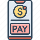 emolument, mobile, packet, pay, payment, salary, wage icon