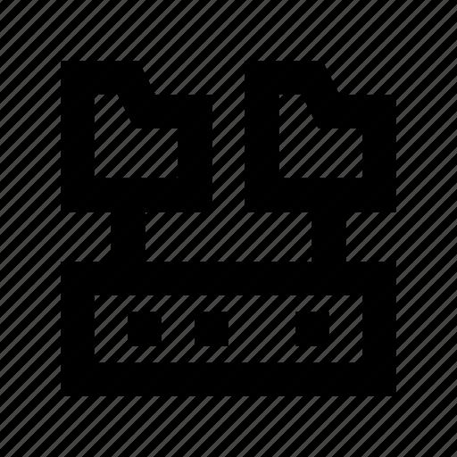 connected folder, folder sharing, network folder, server folder, server storage icon