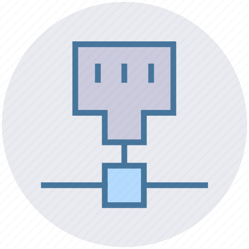 cable port, connection, internet, network, port, technology icon