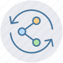 arrows, connect, link, network, share, technology, web icon