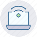 hotspot, internet, laptop, notebook, signals, technology, wifi signals icon