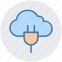 cable, cloud, cloud plug, network, plug, power cord, server icon