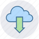 cloud, cloud network, data, down arrow, download, downloading, storage icon