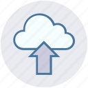cloud, cloud network, data, storage, up arrow, upload, uploading icon