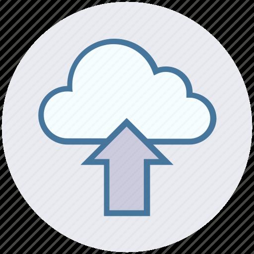 cloud, cloud network, data, storage, up arrow, upload, uploading icon