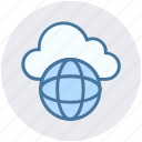 cloud, cloud globe, global, planet, server, storage, world icon