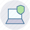 laptop, network, pc, screen, security, shield, technology icon