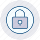 circle, lock, locked, padlock, privacy, secure, security icon