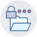 document, folder, lock, locked, private, security, storage icon
