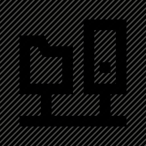 Connected folder, folder hierarchy, folder sharing, server folder, server storage icon - Download on Iconfinder
