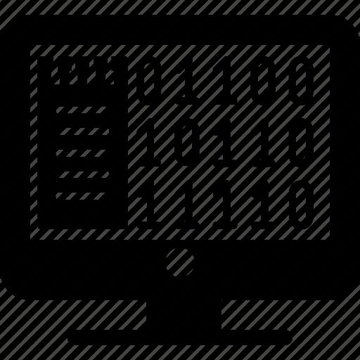 algorithm, binary, code, communication, internet, network, technology icon