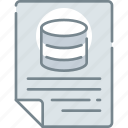 data, databse, document, file, report, status, storage icon
