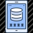 data, database, mobile, security, smartphone, storage icon