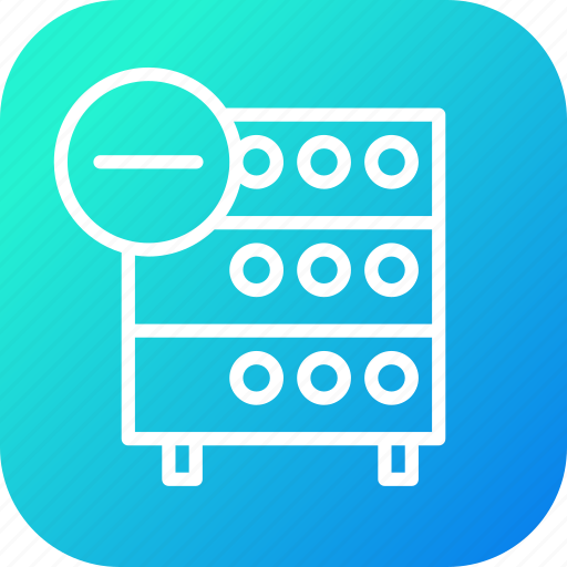 data, databse, hosting, rack, remove, server, storage icon