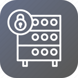 databse, hosting, rack, secure, security, server, unlock icon