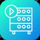 databse, hosting, media, play, rack, server, video