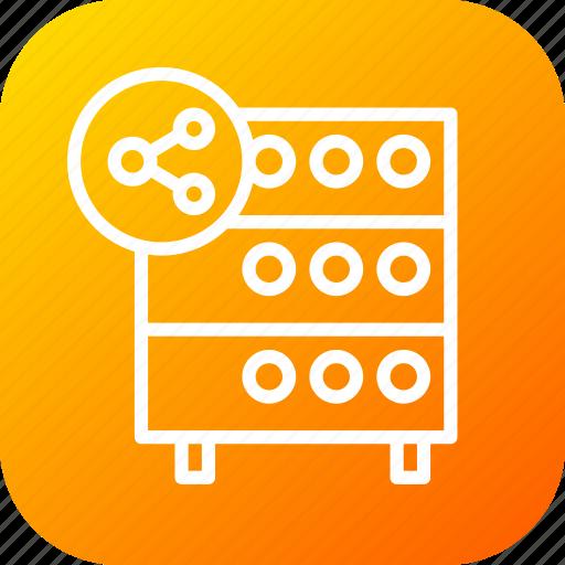 databse, file, hosting, rack, server, sharing, sync icon