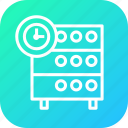 clock, databse, hosting, rack, reminder, server, timestamp icon