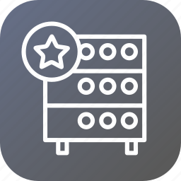 databse, favorite, hosting, like, rack, server, star icon