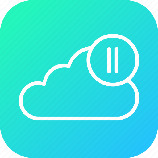 audio, cloud, media, pause, streaming, video, youtube icon