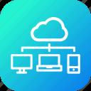 cloud, desktop, laptop, mobile, network, share, sharing icon