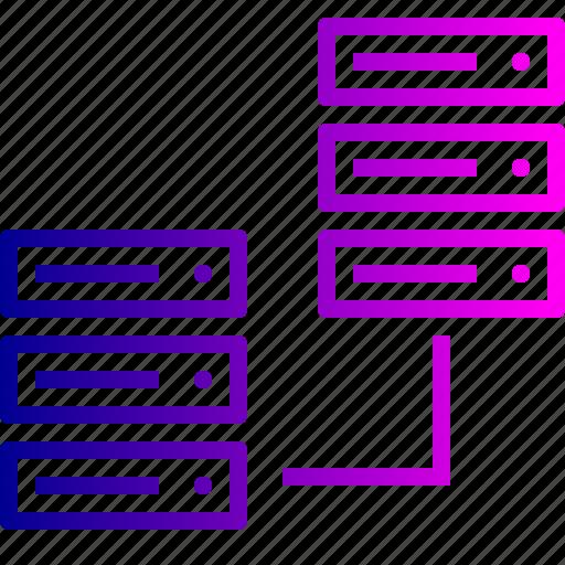 center, data, hosting, rack, server, sharing, web icon