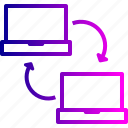 connection, data, laptop, sharing, sync, wireless icon