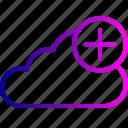 add, backup, cloud, data, file, online, server icon