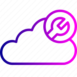 cloud, data, optimization, server, settings, storage, wrench icon