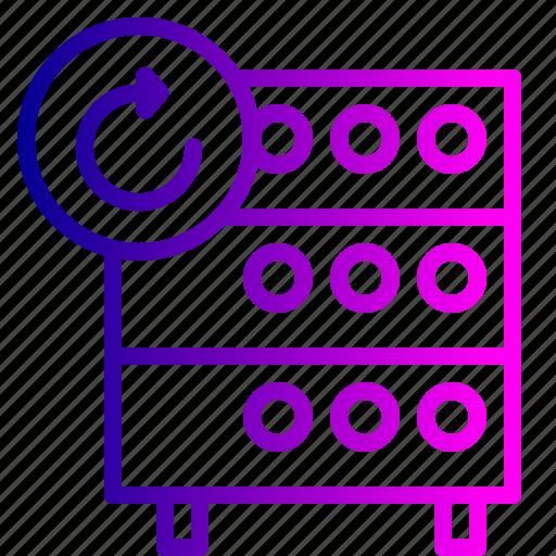 center, data, databse, hosting, rack, refresh, server icon