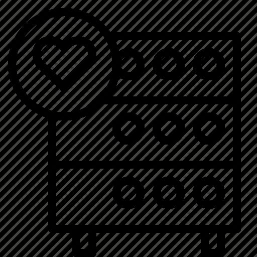 databse, favorite, heart, hosting, like, rack, server icon