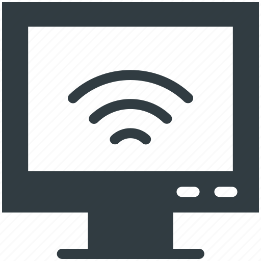 computer screen, wifi signals, wireless connection, wireless internet, wireless network icon
