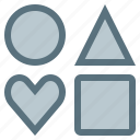 circle, heart, more, option, others, square, triangle icon