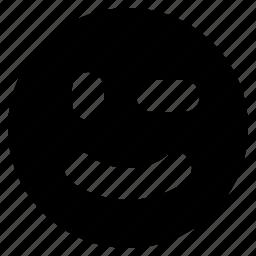 emoji, emoticon, emotion, face, happy, smile, wink icon