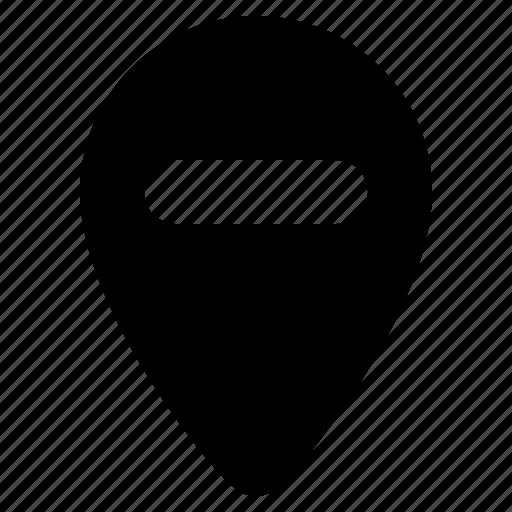 delete, location, map, marker, minus, navigation, remove icon