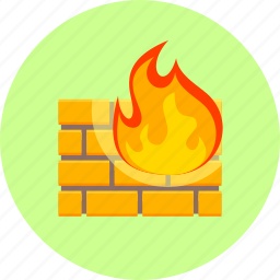 alarm, burning, caution, construction, danger, fire, wall icon
